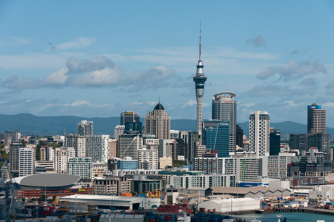 Sky tower in downtown Auckland, New Zealand