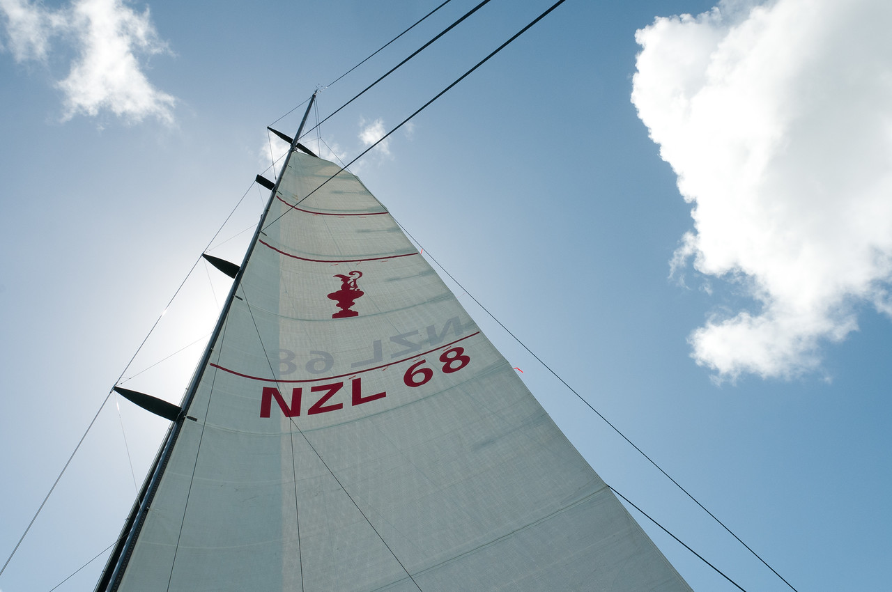 America's Cup Yacht Sail in Auckland Harbor, New Zealand