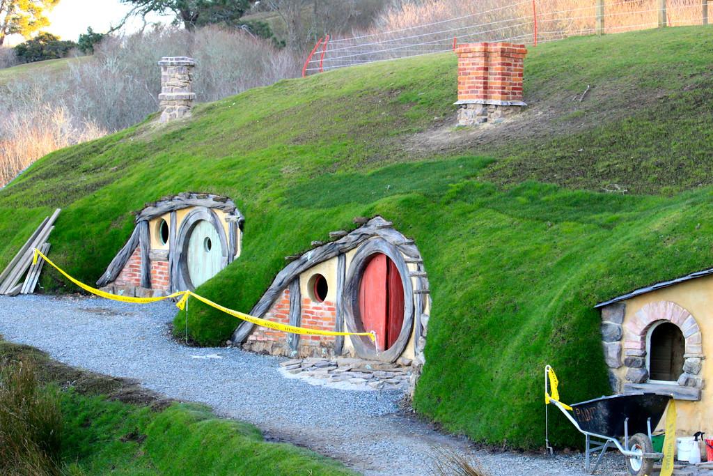 Hobbit Holes on the Hobbiton Movie Set - Matamata, New Zealand - Photo