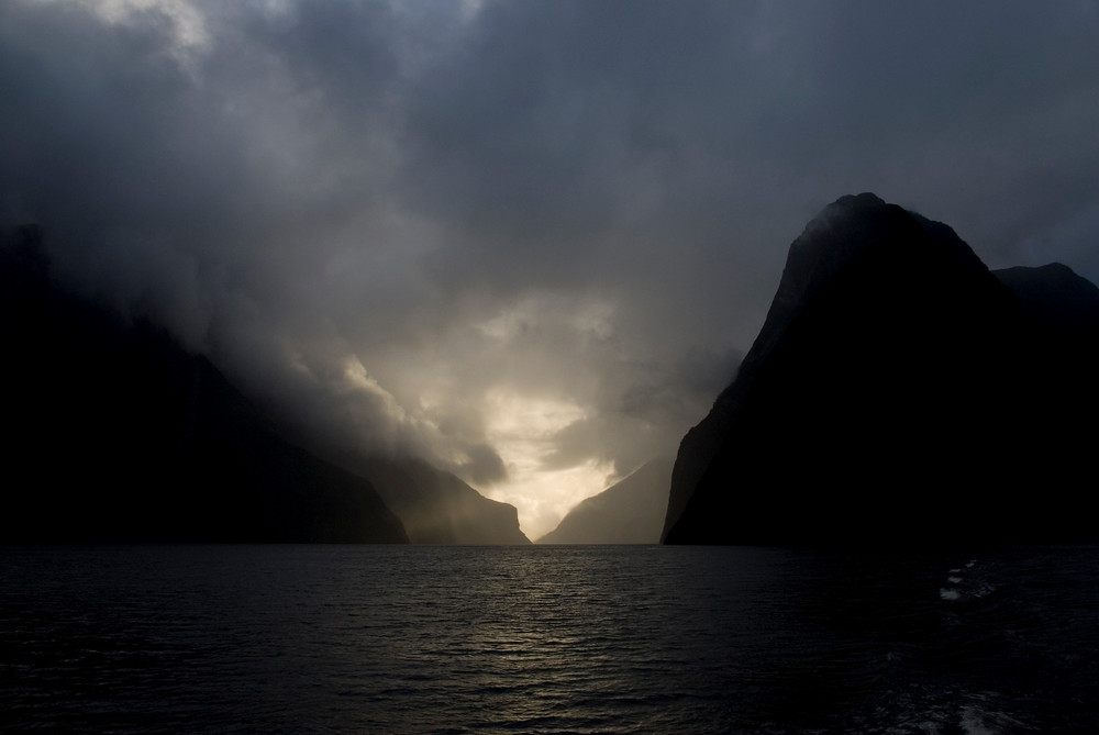 Sunset at Milford Sound, New Zealand
