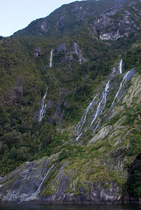 Multiple Watefalls - Milford Sound, NZ