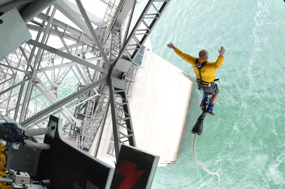 Me bungee jumping off the Harbor Bridge in Auckland, New Zealand