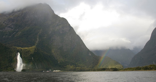 Rainbow and Waterfall - Milford Sound, NZ