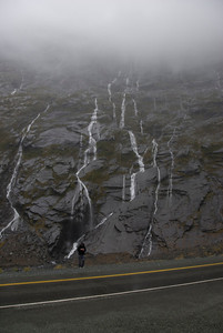 Waterfall wall - Milford Sound, NZ