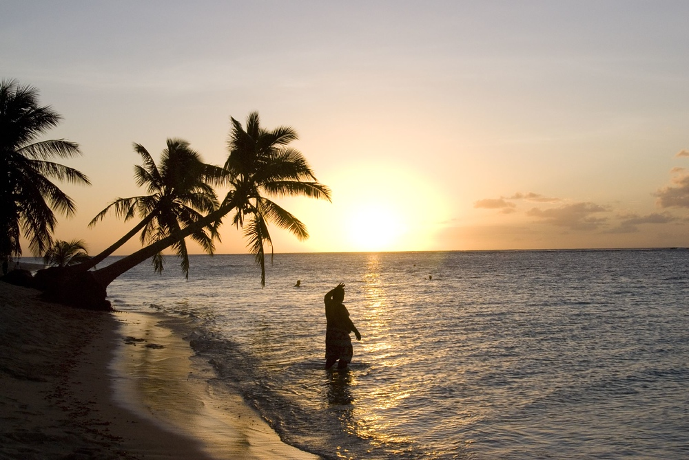 Sunset on the island of Savai'i, Samoa