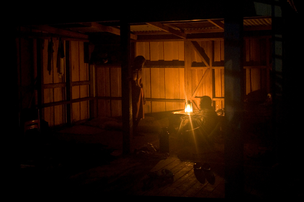 Workers at night, Rennell Island, Solomon Islands