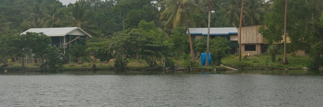 Village on Lake Te Nggano, Rennell Island - Solomon Islands