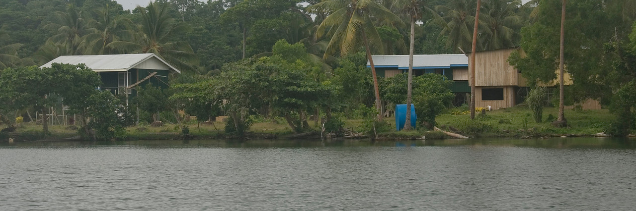 Village on Lake Te Nggano, Rennell Island - Solomon Islands