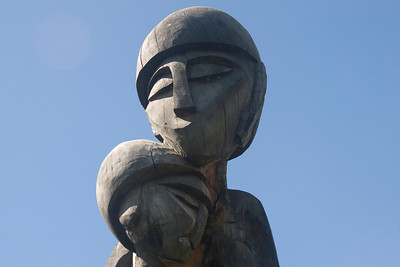 Mother and Child Carving - Solomon Islands