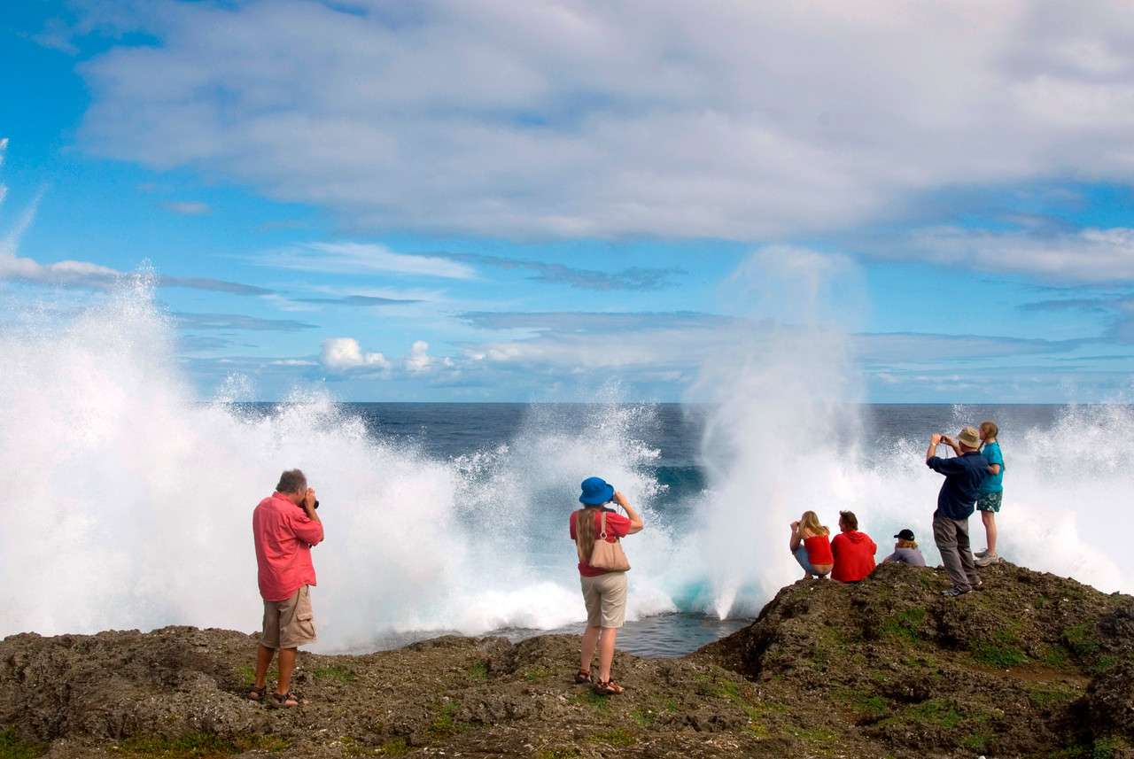 Family at Blowholes - Tonga