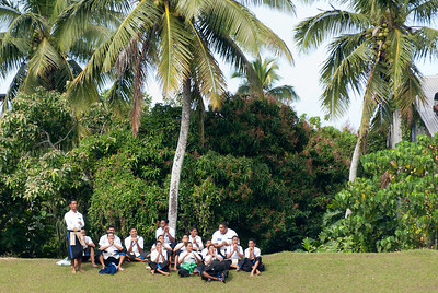 Kids watching a rugby match in Tonga