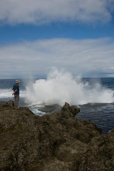 Man at Blowhole - Tonga