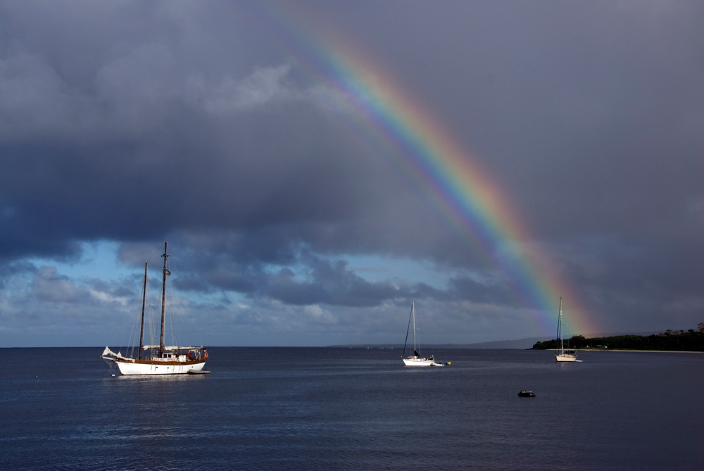 Rainbow Over Sailboats in Vanuatu