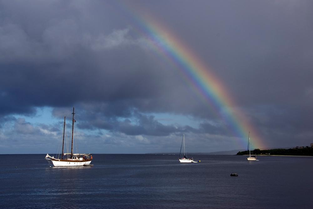 Rainbow Over Sailboats in Vanuatu