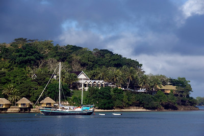 Sailboat and bungalows - Vanuatu