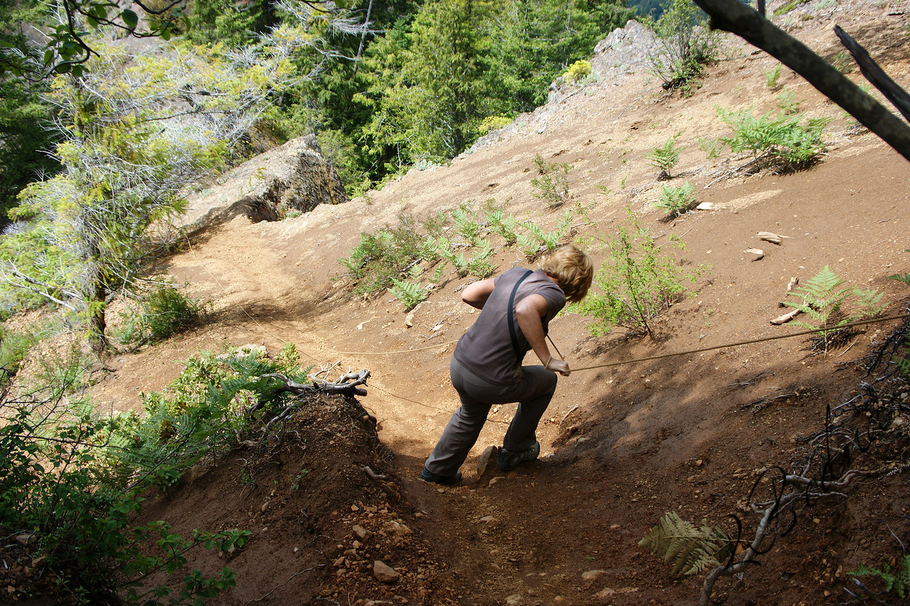 Photo By Bob Bodnar............................................Sandy on her way down Mountain..............................So Steep, you had to use a rope to get to the Summit and Back down.....