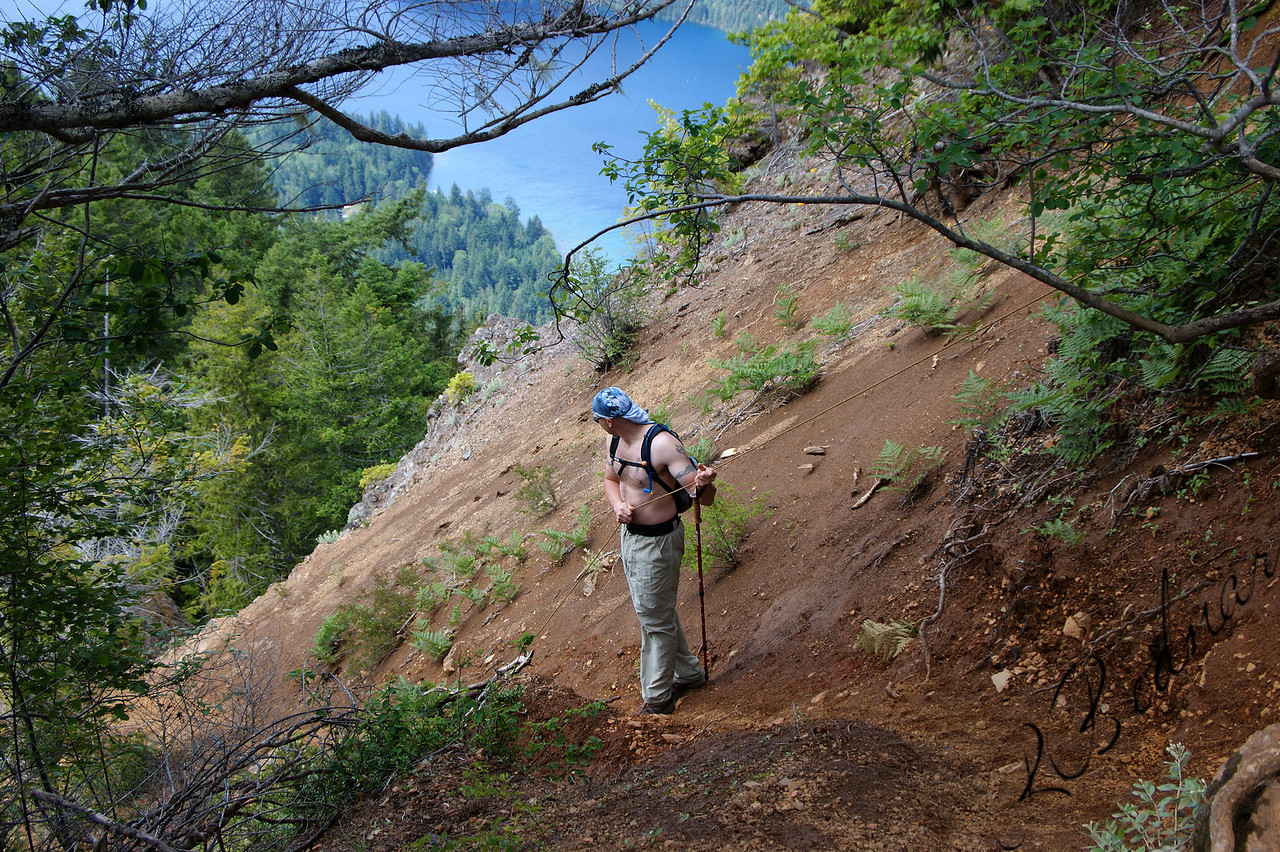 Photo By Bob Bodnar.........................................Greg on his way down Storm King Mountain.............................So Steep, you had to use a Rope to get to the Summit and also Back down