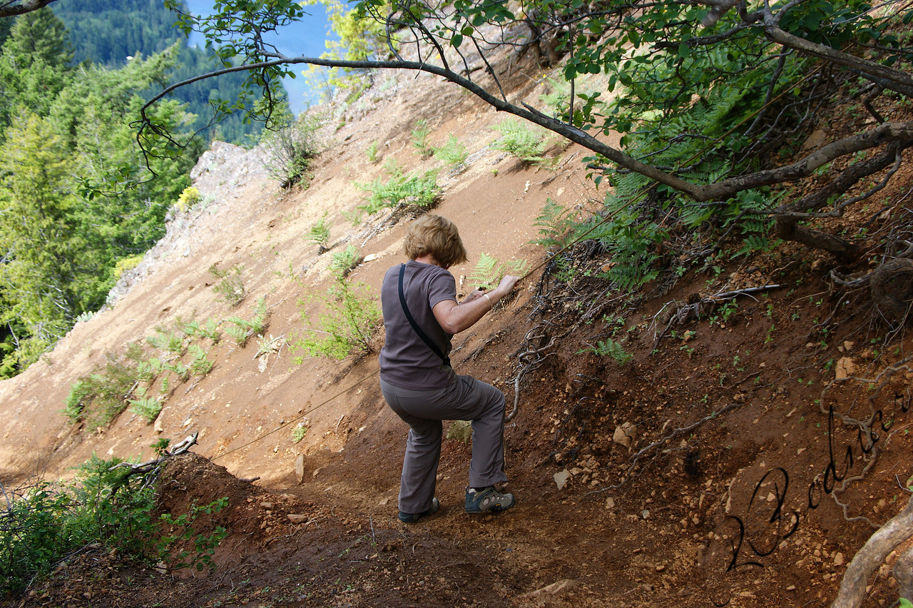 Photo By Bob Bodnar.................Sandy on her way down from Storm King Summit................So Steep, You had to use a Rope to get to the Summit and also back Down.......