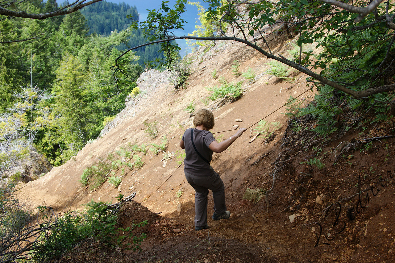 Photo By bob Bodnar.........................................Sandy on her way down Storm King Mountain........................So Steep, You had to use a Rope to get to the Summit and also Back Down......