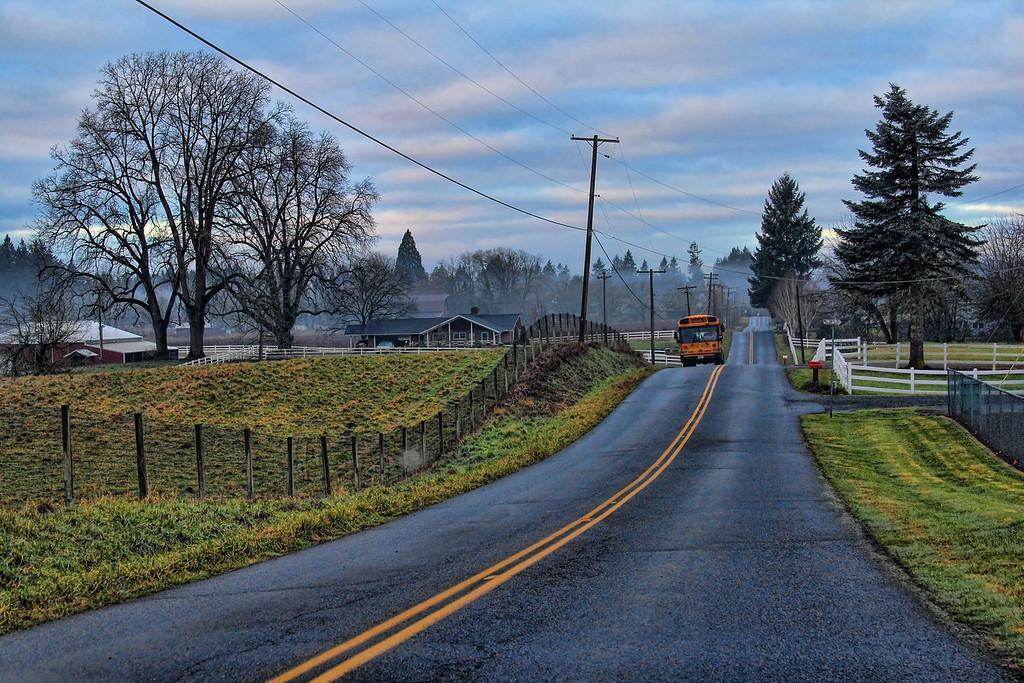 School Bus Rural Road