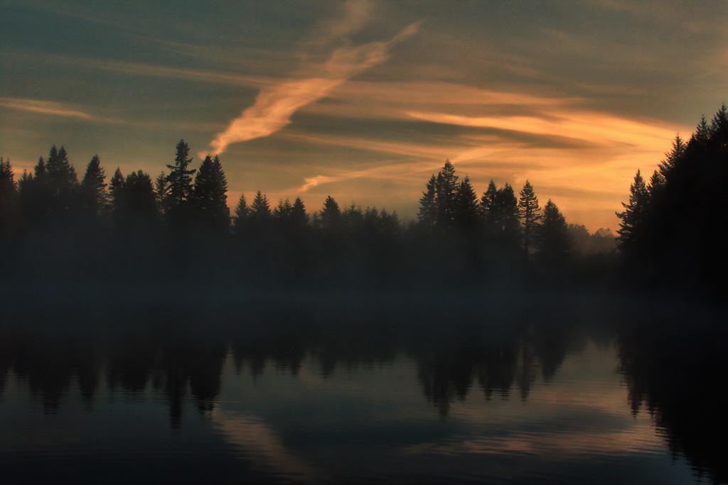 Morning Fog Enhanced Farhger Lake WA