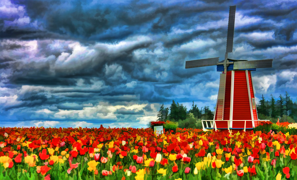 windmill hdr Dramatic Sky Painted