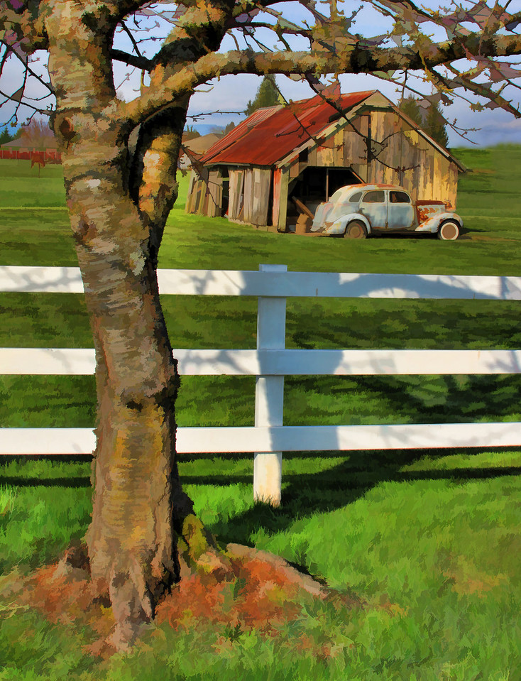 Rural scene painted