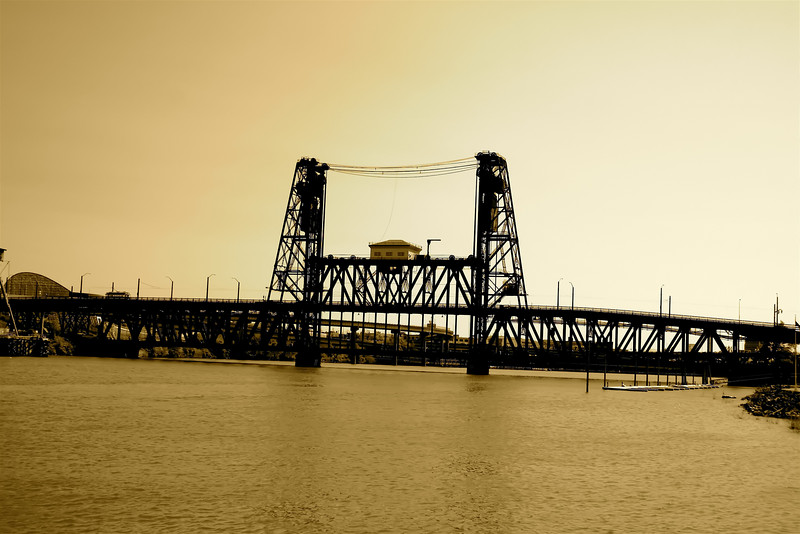The Steal Bridge Sepia, Portland, Or