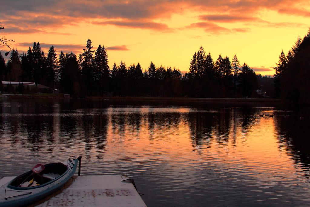 Snowy Sunrise lakeside