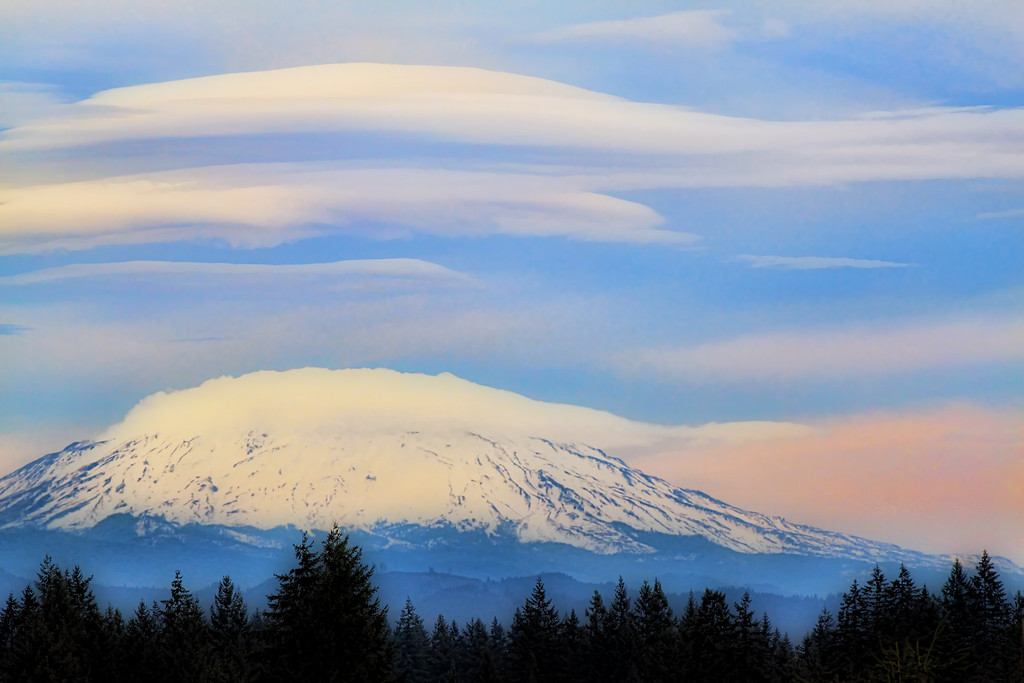 Mt. St Helens With Lenticular Clouds