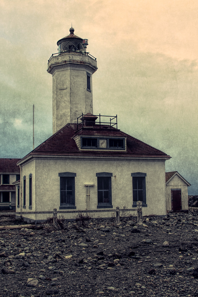 Distressed Grunge Light House Port Townsend by Jodi Tripp