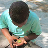 Christian Inspects a Baby Turtle