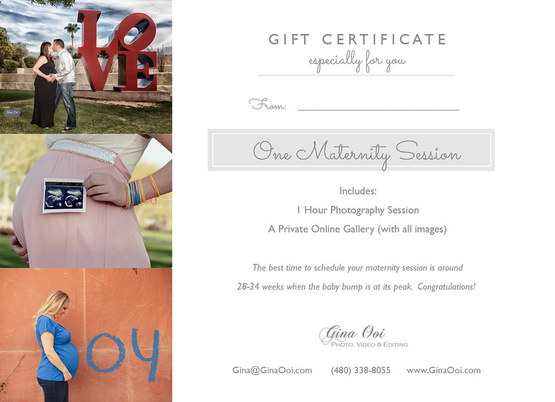 An example of a Gift Card for a Maternity Photography Session