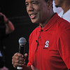 Men's head basketball coach Kevin Keatts speaks to his first Packapalooza crowd.
