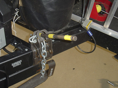 Once the tightener snaps in place remove the hitch release handle.