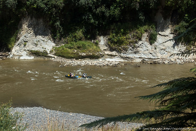 Paddlers running the rapids below Ohauora campsite