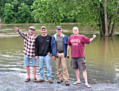 Dave M., Jim, Kev and Drew - undaunted by the raging Shenandoah.