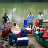 The flotilla assembles at Spring Gap - Kev, Jamie and Gary.