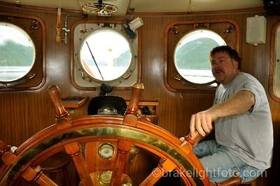 Captain Jeff in the Uchuck Wheelhouse