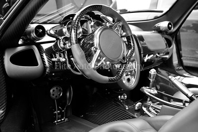 Pagani Huayra Steering Wheel Black and White