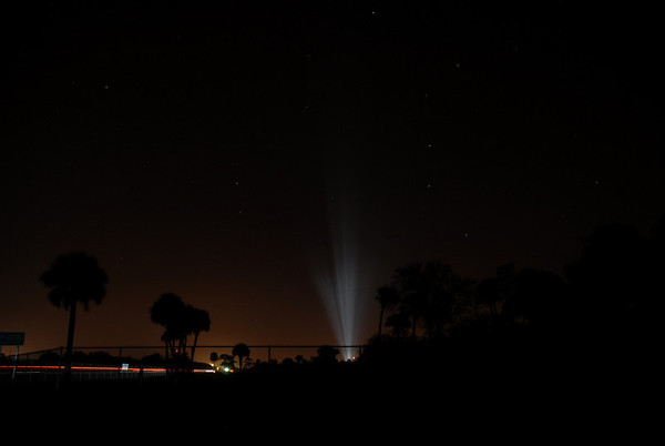 Lights illuminate the launchpad at KSC just outside Visitors Complex.