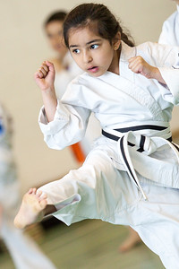 Young girl in her karate lesson