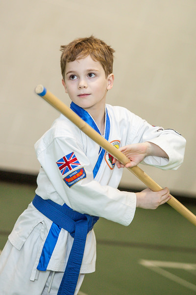 Young boy in his karate lesson in Sutton