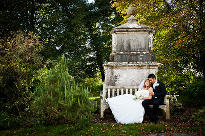 Formal portrait of a bride and groom at St Margaret's Church in Hooley