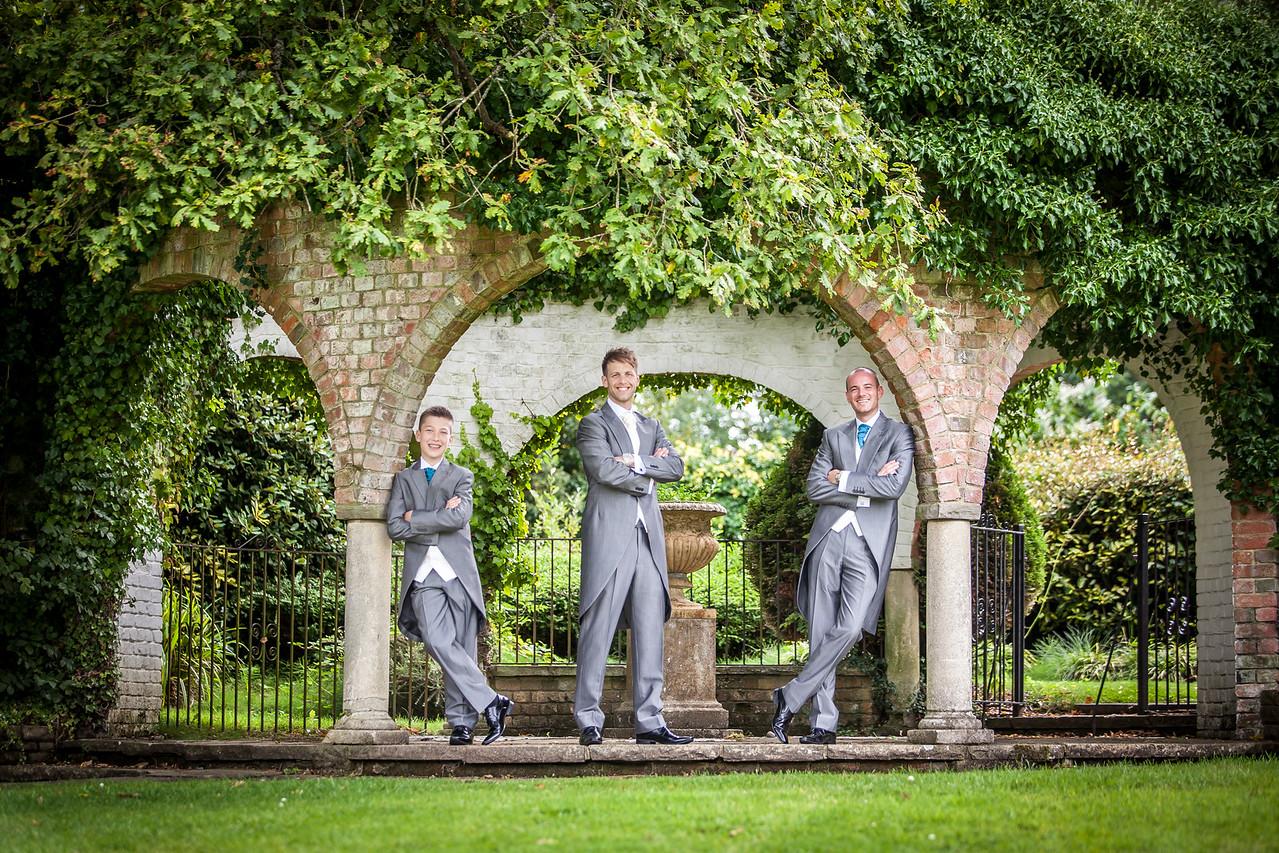 Groom and his groomsmen at Ghyll Manor in Rusper