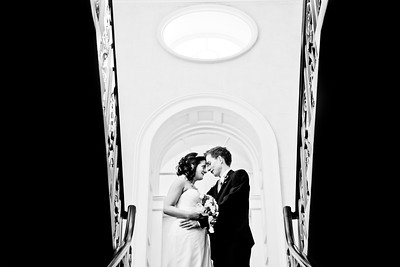 Bride and groom portrait on the staircase at Morden Registry Office