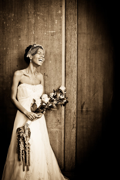 Bride enjoying a funny joke