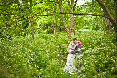 Formal portrait of a bride and groom at Ewell Court House