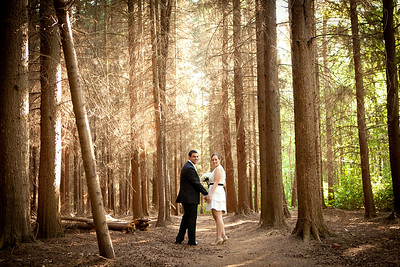 Formal portrait of a bride and groom at Foxhills in Chertsey