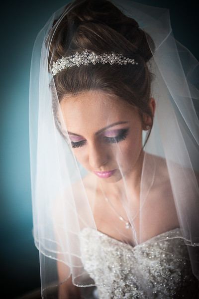A portrait photograph of a bride with her veil